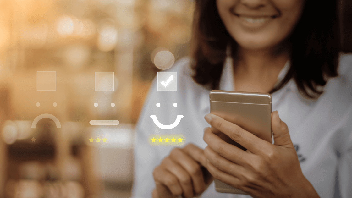 Smiling woman taking a survey based on customer behavior
